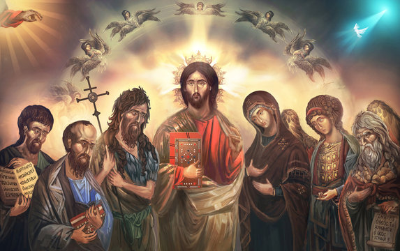 Jesus Christ surrounded with saints