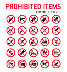 Prohibition signs collection security control in stadium during mass events.