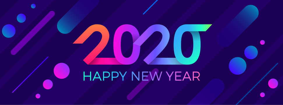 2020 Happy New Year. Paper Memphis geometric bright style for holidays flyers, greetings, invitations, Happy New Year or Merry Christmas cards. Holiday background, poster, banner. Vector Illustration.