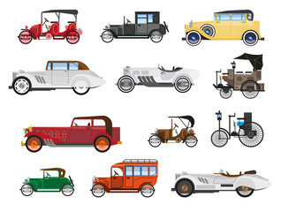 Fototapeta Retro vehicles, vintage cars isolated icons, automobile industry history obraz