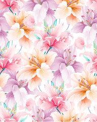 Elegant beautiful watercolor magnolia flower and seamless pattern