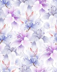 Obraz Elegant beautiful watercolor magnolia flower and seamless pattern - fototapety do salonu