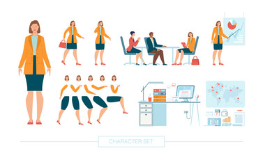 Businesswoman Character Constructor Isolated, Trendy Flat Design Elements Set. Female Business Leader Working in Office, Body Parts, Face Expressions, Work Table and Office Supplies Illustrations
