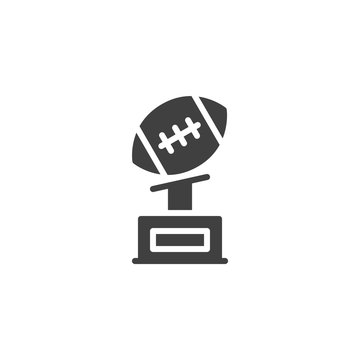 American football cup vector icon. filled flat sign for mobile concept and web design. American football award trophy glyph icon. Symbol, logo illustration. Vector graphics