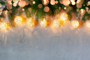 Christmas Decoration With Garland Lights On concrete background .Merry Christmas and New Year...