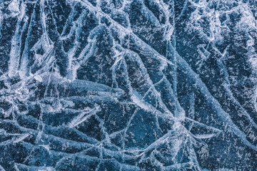 Patterns on the ice of lake Baikal. Irkutsk region, Eastern Siberia, Russia