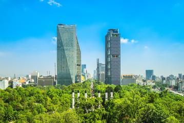 skyline of mexico city and  Chapultepec park Papier Peint