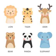 Cute animals vector. Set of wildlife animal flat design vector. Cute animals isolated on white background.