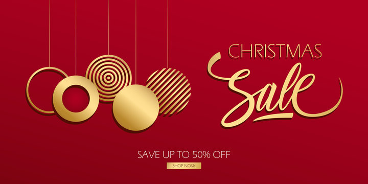 Christmas Sale special offer luxury banner with gold hand lettering and gold colored Christmas balls. Discount up to 50% off. Vector illustration.