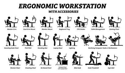 Ergonomic computer desk, workplace, and workstation. Stick figure pictogram icons depict ergonomic accessories for office work with good posture and support.