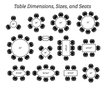 Round, oval, and rectangular table dimensions, sizes, and seating. Pictogram icons depict the top view and number of seating in different type of table design and sizes.