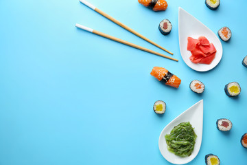 Printed kitchen splashbacks Sushi bar Composition with tasty sushi on color background