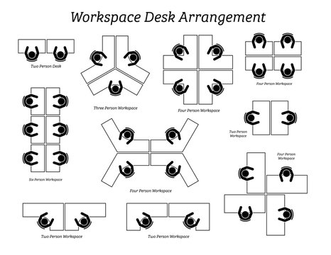 Workspace desk arrangement in office and company. Pictogram icons depict the top view of table arrangement and seatings for office employees, staffs, and workers.