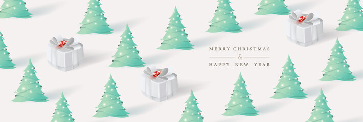 Wall Mural - Merry Christmas and Happy New Year. Xmas background with Christmas tree and gifts box paper art style. Vector illustration.
