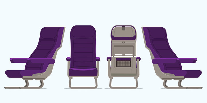Airplane seat in various points of view. Armchair or stool in front view, rear view, side view. Furniture icon for Plane transport interior design  in flat style. Vector illustration.