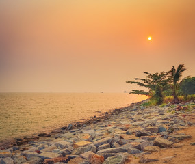 Fototapete - Sunset over the Straits of Malacca. Sunset over the sea