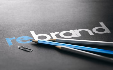 Rebrand Strategy, Marketing and Brand Management Concept.