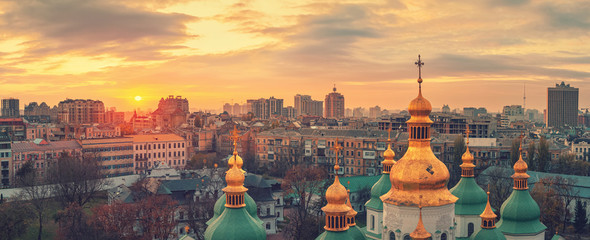 Garden Poster Kiev Aerial view of Kyiv city, St. Sophia Cathedral at sunset, Ukraine. Panoramic cityscape
