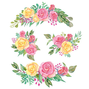 set of rose pink and yellow watercolor floral arrangement and bouquet
