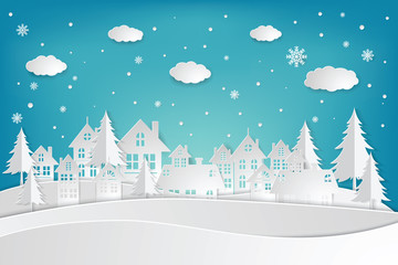 Snow Urban Countryside Landscape City Village. paper art and craft style. illustrator Vector eps 10.