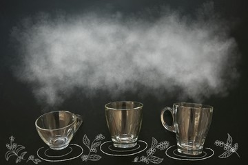 cup of coffee with smoke on chalkboard