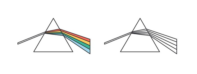 Light dispersion and refraction effect linear vector icon. Dispersive prism, glass pyramid, triangular crystal outline illustration. Scientific experiment, physics, optics symbol isolated on white.