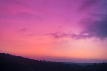 Photo sur Plexiglas Rose banbon Unusual sky background at sunset day.