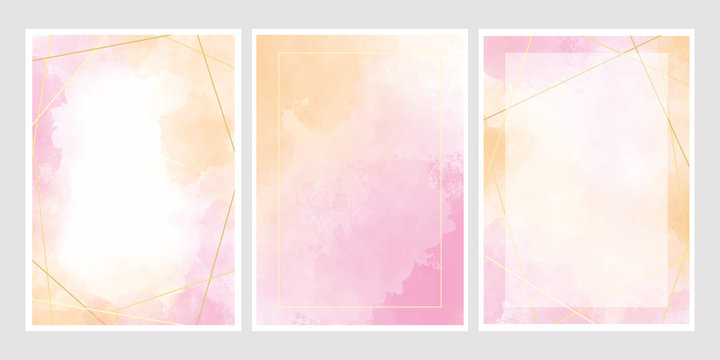 pink watercolor wash splash with golden frame 5x7 invitation card background template collection