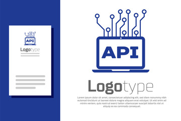 Blue Computer api interface icon isolated on white background. Application programming interface API technology. Software integration. Logo design template element. Vector Illustration