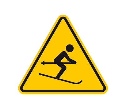 Vector yellow triangle sign - black silhouette figure skier. Isolated on white background.