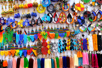 Tanzania Zanzibar handcrafted ethnic earrings on display board in Stone Town