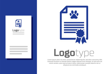 Blue Medical certificate for travel with dog or cat icon isolated on white background. Document for pet. Dog or cat paw print. Logo design template element. Vector Illustration