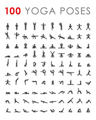 Big yoga poses asanas icons set. All asanas. 100 poses. Vector illustrations. For logo yoga branding. Yoga people infographics. Stick figures. Pilates stretch gymnastics fitness poses