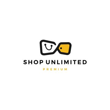 unlimited shop shopping bag sale discount tag logo vector icon illustration