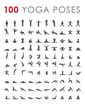 Big yoga poses asanas icons set. All asanas. 100 poses. Vector illustrations. For logo yoga branding. Yoga people infographics. Stick figures. Pilates stretch gymnastics fitness poses