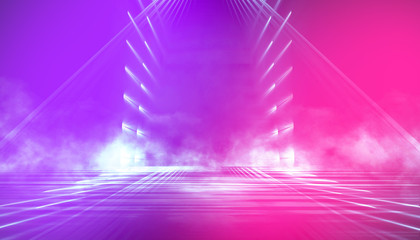 Ultraviolet abstract light. Diode tape, light line. Violet and pink gradient. Modern background, neon light. Empty stage, spotlights, neon. Abstract light.