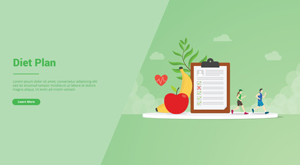 diet plan with running and health food plan checklist for website template or landing homepage banner - vector