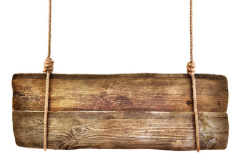 wooden signboard hanging on a rope isolated on white