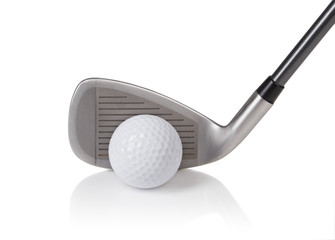 golf ball and club on white background