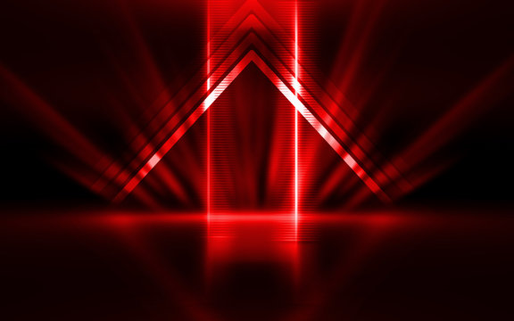 Empty show scene background. Reflection of a dark street on wet asphalt. Rays of red neon light in the dark, neon shapes, smoke. Abstract dark background.