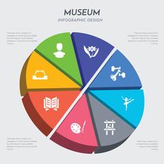 museum concept 3d chart infographics design included arc, archivist, art, artwork, ballet, bone, botanical, bust icons