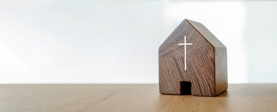 Home church, wooden home church, community of Christ, Mission of gospel, with blank copy space