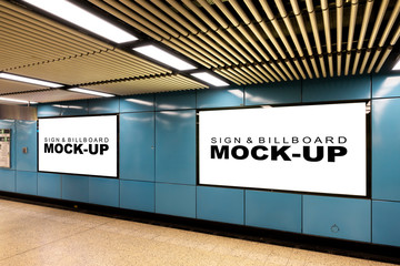 Mock up large blank horizontal billboard at metro station