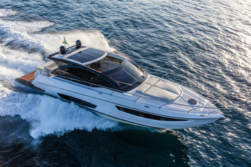 luxury motor yacht in navigation, aerial view