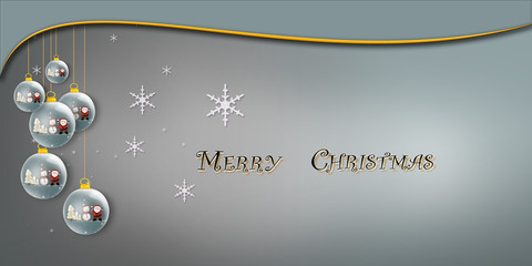 Merry  christmas banner with creative balls