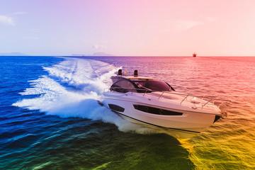 luxury motor yacht in navigation, aerial view Wall mural