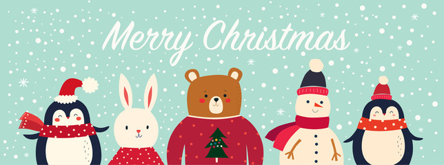 Fotomurales - Vector Christmas banner with funny characters bear, snowman, penguin and bunny