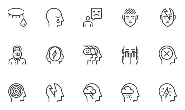 Psychological problems vector line icons set. Mental disorders, depression, sadness, melancholy. Editable stroke. 48x48 Pixel Perfect.