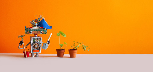 Agriculture gardening poster. Toy gardener with bucket shovel rake and sprouts of wild strawberries in clay flower pots. Orange background, copy space