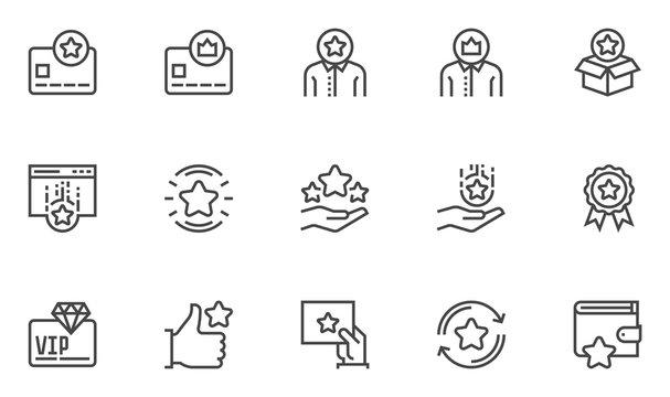 Loyalty program vector line icons set. Bonus card, gift card, customer satisfaction. Editable stroke. 48x48 Pixel Perfect.